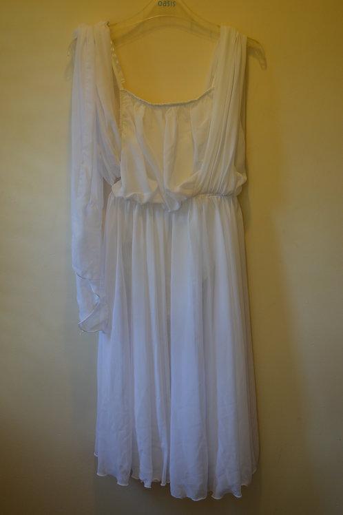 White Lyrical Dress with Flower Garland