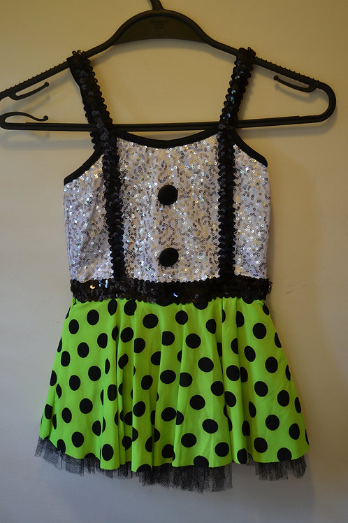 Silver Bodice with Lime Green Polka Dot Skirt