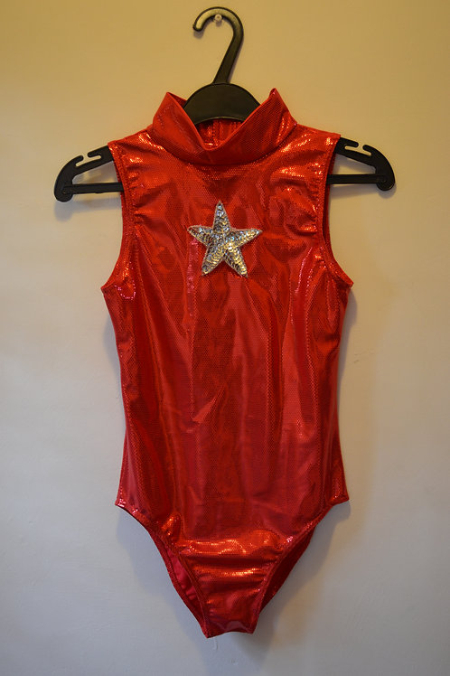 Red Hologram Leotard with Silver star
