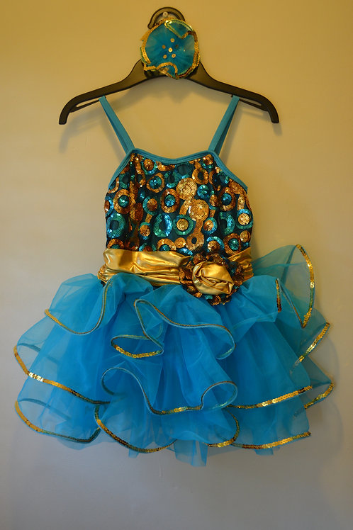 Sparkly Blue and Gold Ruffle Dress