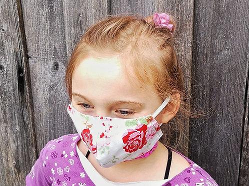 Kindermaske Mädchen Rosen 4-9 Jahre