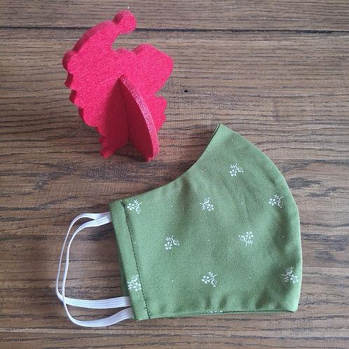 Stoffmaske Damen Gr. S grün mit Streublümchen