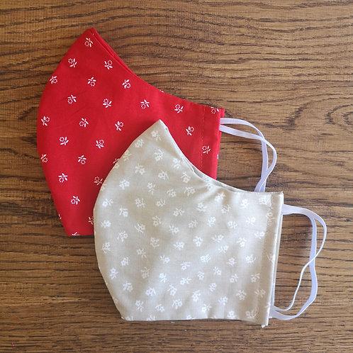 Stoffmasken Set Damen Gr. M rot & beige