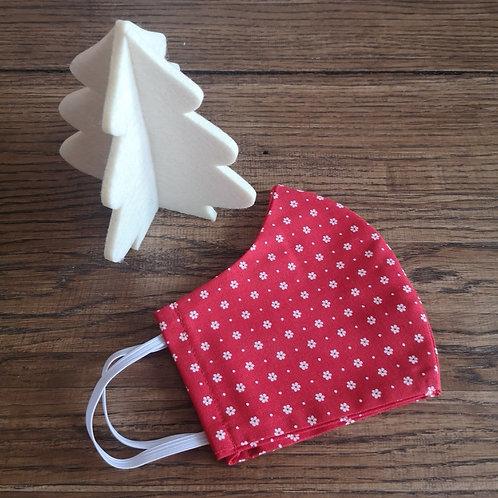 Stoffmaske Damen Gr. S rot mit Streublümchen