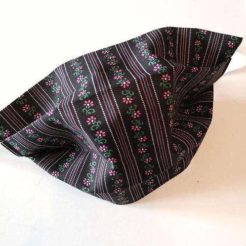 Stoffmaske mit Falten Damen schwarz mit Trachtenmuster