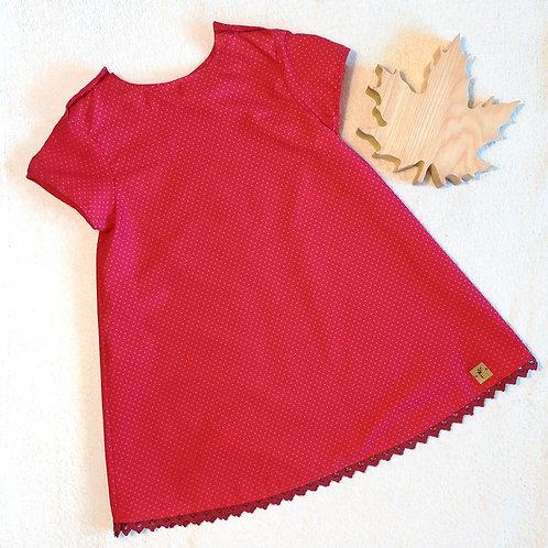 """Kleid """"Vroni"""", rot mit Pünktchen, Gr. 110/116"""