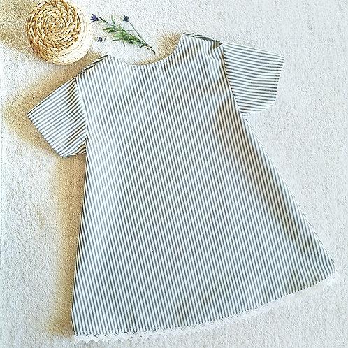 """Kleid """"Vroni"""", ecru-grau gestreift, Gr. 98/104"""