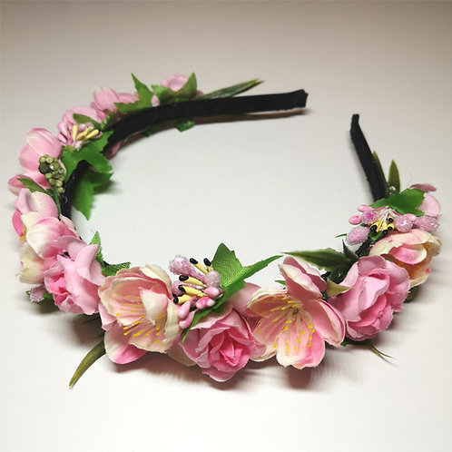 Haarreif mit rosa Blumen