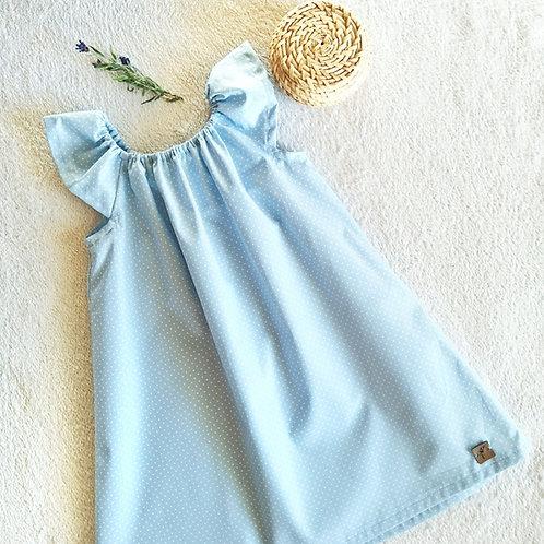 """Kleid """"Emy"""", blau mit Pünktchen Gr. 110/116"""