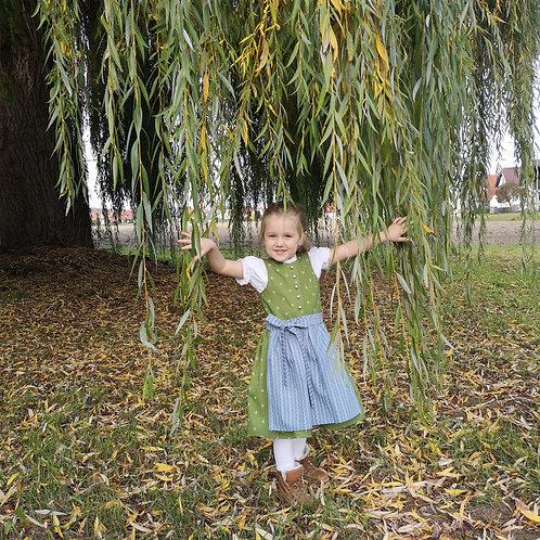 """Kinderdirndl Set """"Emmi"""" Gr. 110/116 grün mit zwei Schürzen"""