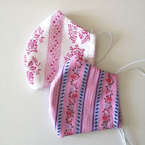 Kindermasken Set rosa und weiß mit Trachtenmuster