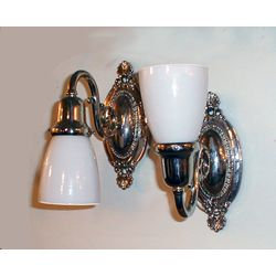 Ornate Oval with Swirl Arm & Glass Shades