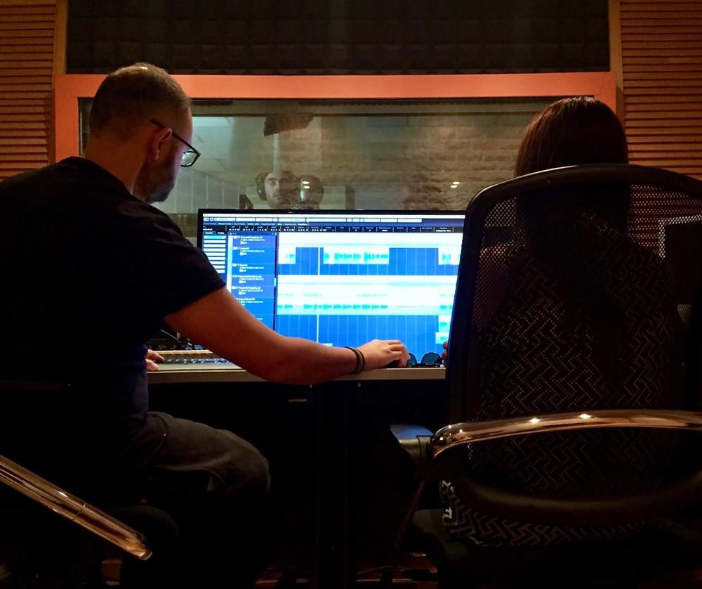 "( Photo:Marios Psimopoulos & Alysia Helming, while recording ""Forever and Tonight"" with Kostas Martakis)"