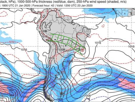 Formação do ciclone sub-tropical no dia 23 trará mais chuva principalmente para o Sudeste do Brasil