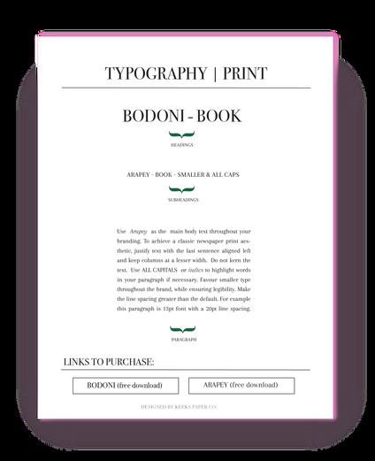 Font Guide - Print