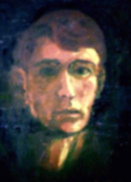 "Self Portrait of artist David Van Sice, oil on hard board, 16""X20"", c1965"