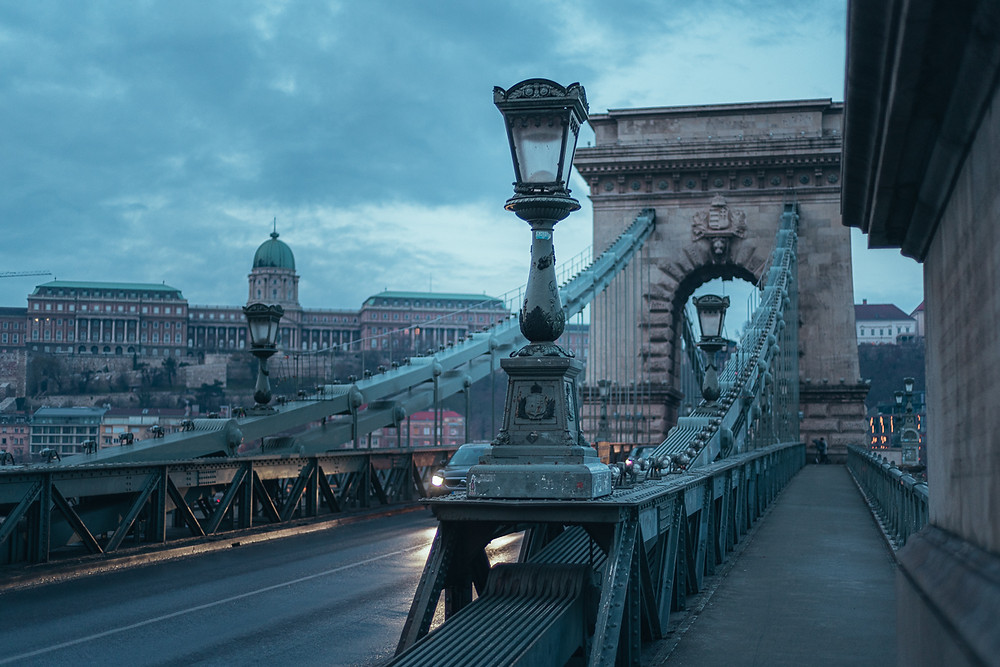 Budapest chain bridge during a cold morning in Hungary