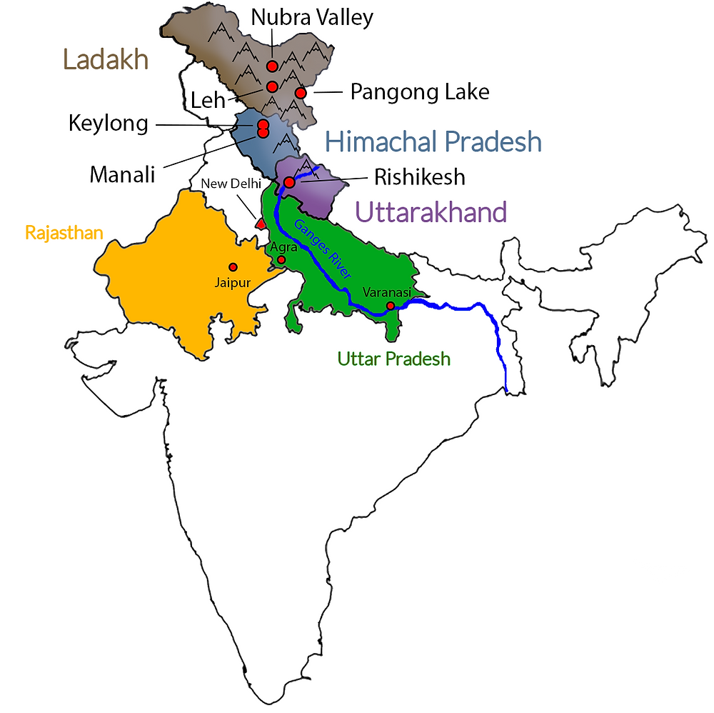 Map of Northern India showing states in Himalayan Plateau