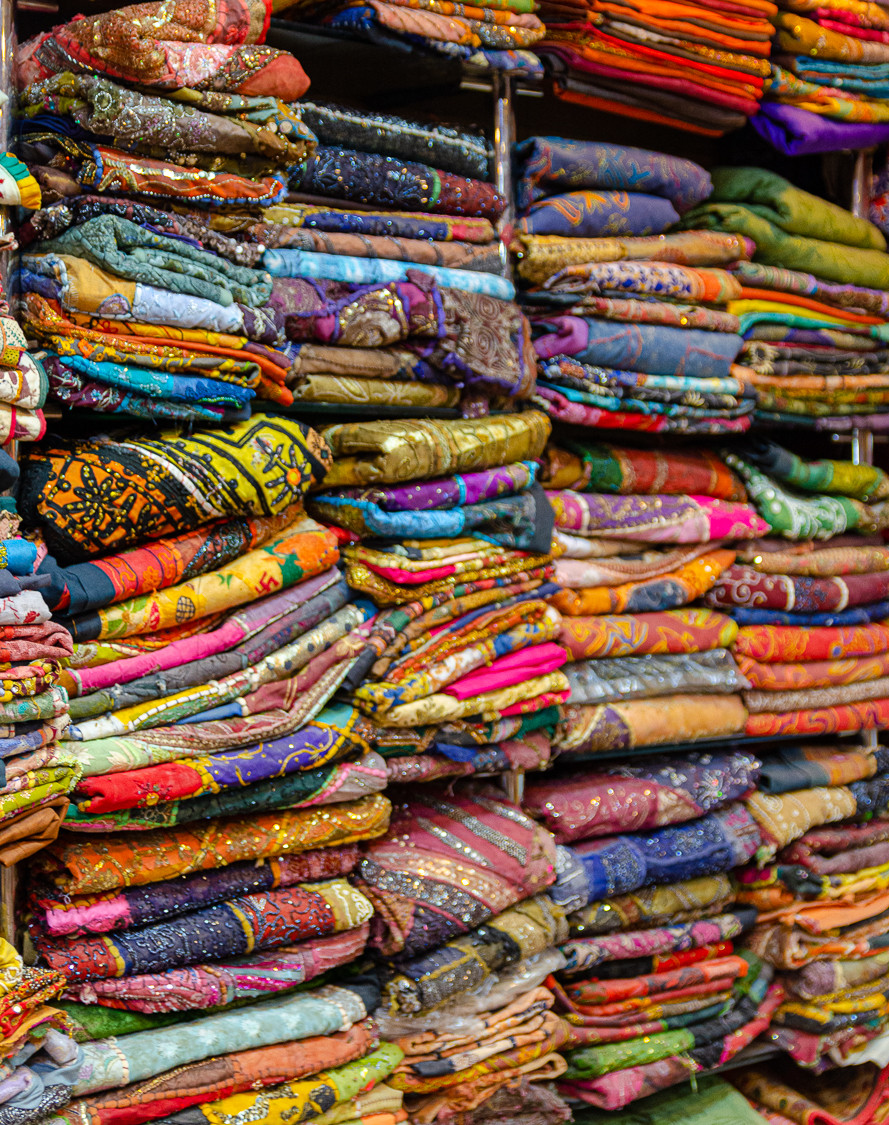 Indian textiles with various colours