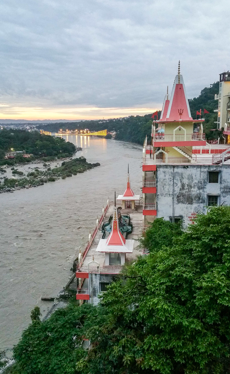 Ganges river through Rishikesh in North India