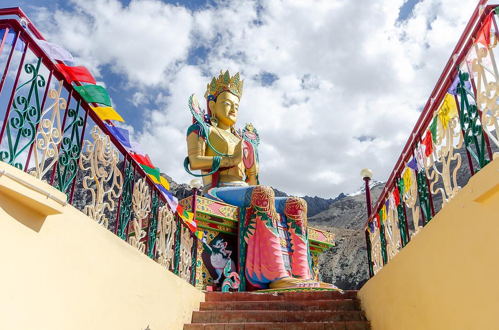 Buddha statue at Diskit Monastery in Ladakh, North India