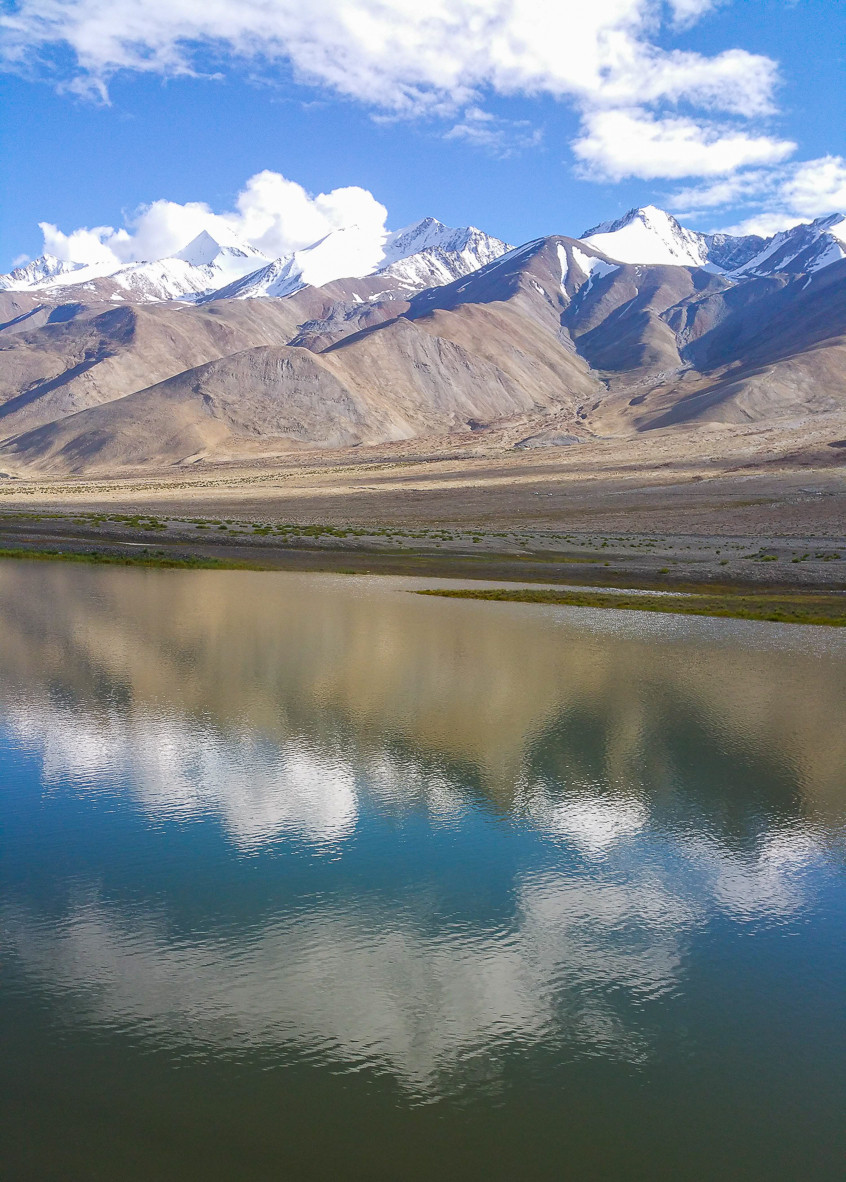 Reflection of mountains in Pangong Lake, India
