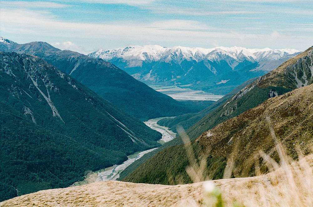 Film photograph of mountains in New Zealand Arthur's Pass