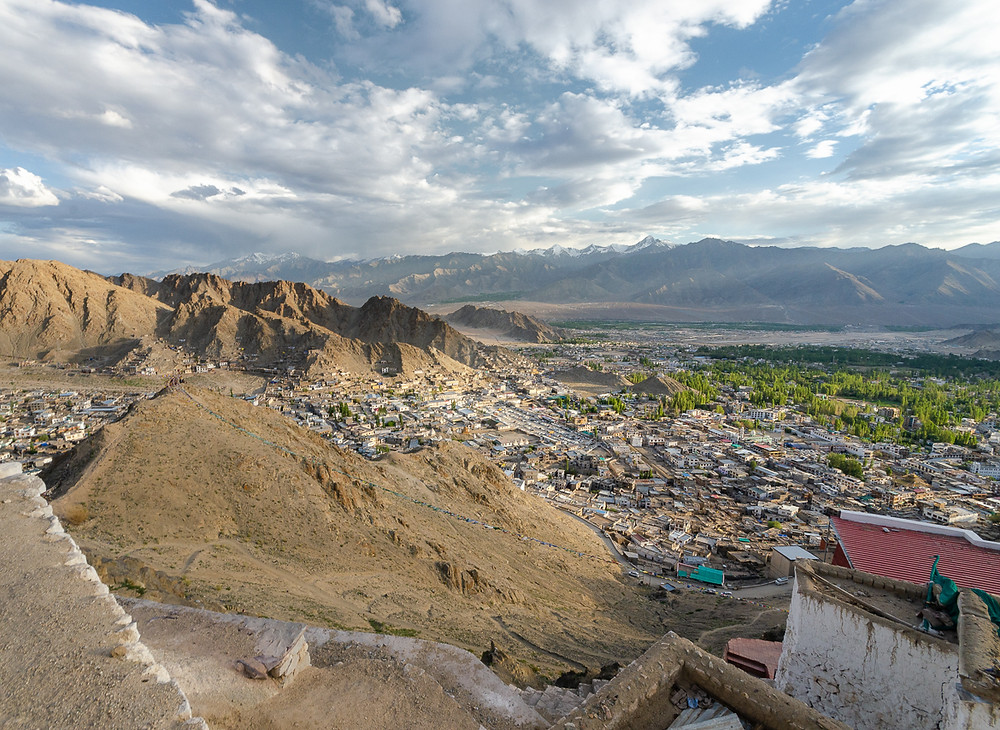 Bird's eye view of Leh, the historical capital of Ladakh, in north India
