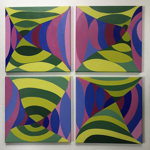 Multi-color abstract on 4 panels