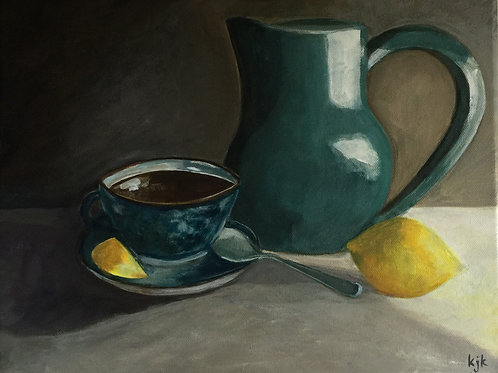 Chiaroscuro Study - Teal Pot & Blue Cup