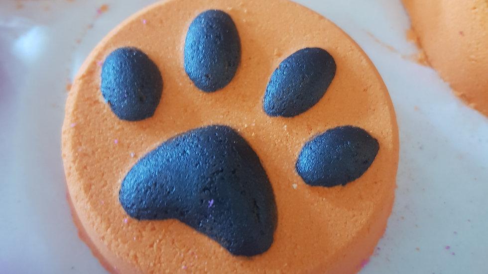 Orange Paw Print Bath Bomb