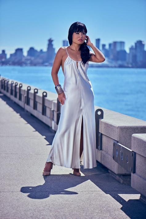 Model Aurora Chan posing for photographer Marc De Vinci on Lonsdale Quay