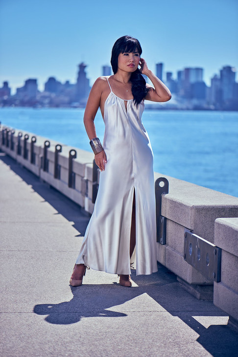 Model Aurora Chan posing for photographer Marc De Vinci on Lonsdale Quay