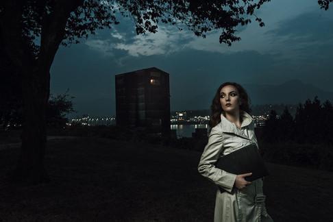Cinematic portrait of actress /author Stefanie Cornell shot by Marc De Vinci