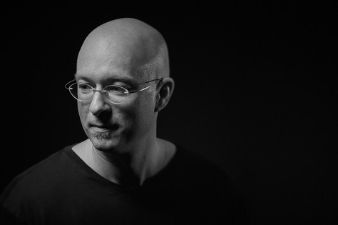 B&W portrait of composer, orchestrator and music educator Alain Mayrand, photo by Marc De Vinci