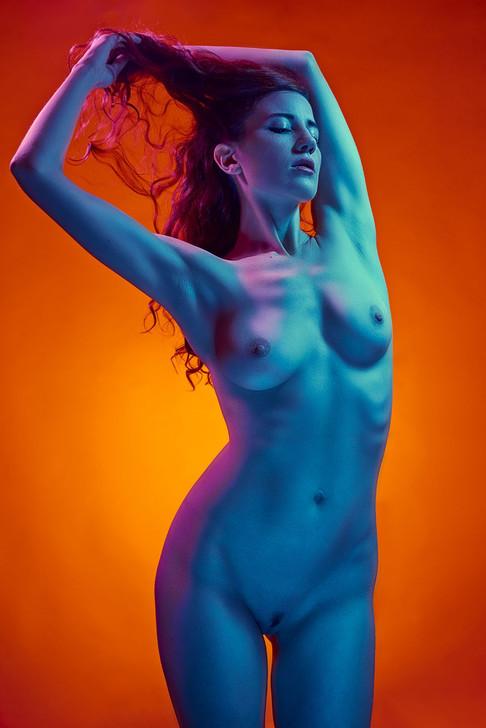 Colourful artistic nude photo of model Lalunetta, image by Marc De Vinci
