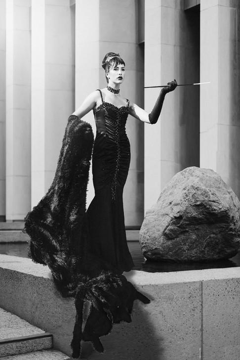 B&W photo of Sophia Torvic, inspired by Audrey Hepburn, taken by Marc De Vinci