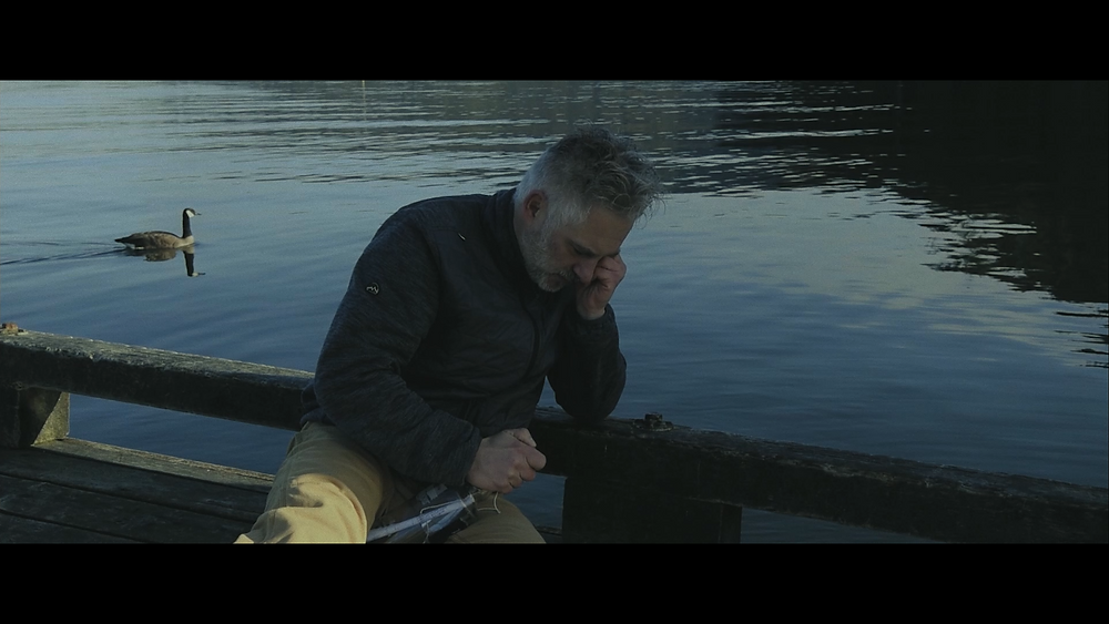 """Screen capture of """"Speechless"""". A goose swims behind Mr. Martin after his breakdown"""