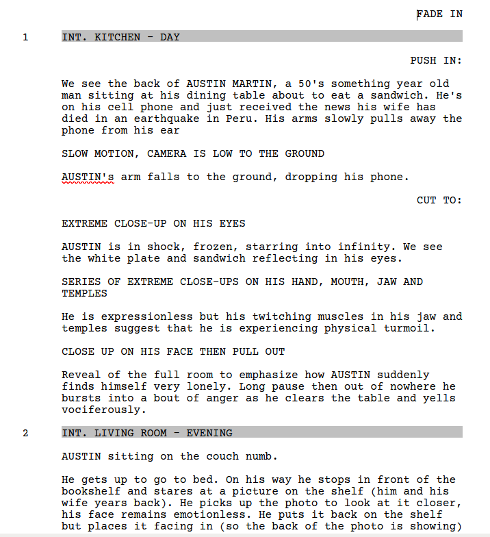 """Page 1 of my script for """"Speechless"""""""