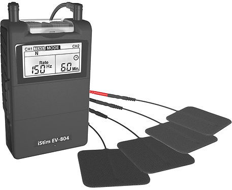 EV-804 Black combo TENS & EMS machine with 31 pre-programmed functions on Sale now! See Homemedics