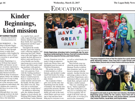 Our Kindness Missions in the Logan Daily News