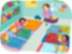 Illustration of preschool during nap