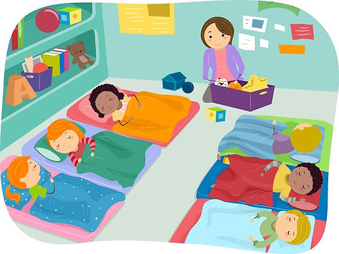 Illustration of preschool during nap