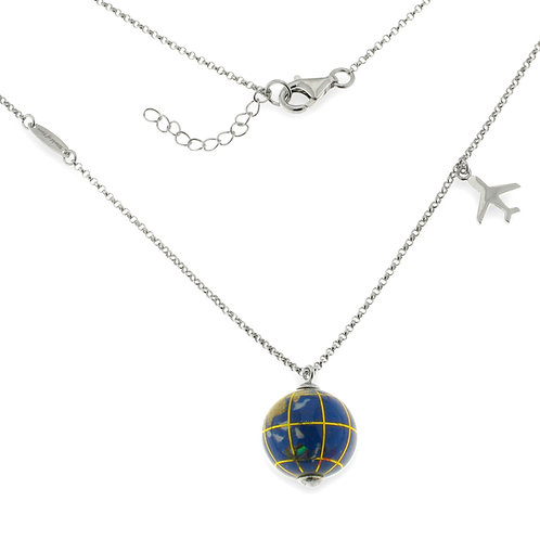 15 globe necklace with airplane charm