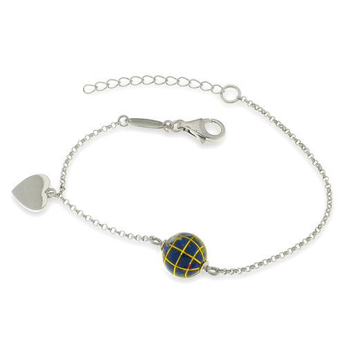 10 mm globe bracelet with heart charm