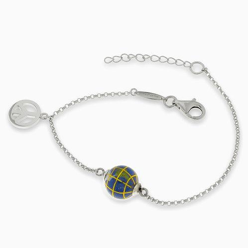 10 mm globe bracelet with peace charm