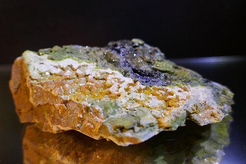 Mottramite with Wulfenite on Quartz