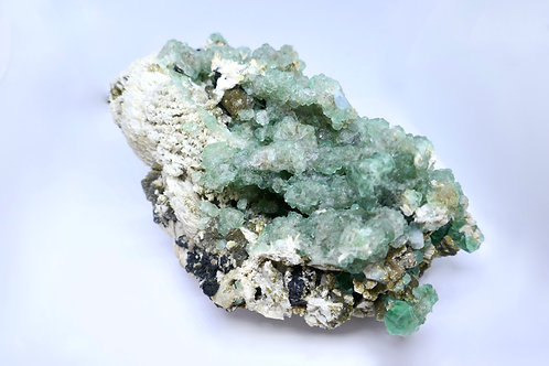 Fluorite  with Aquamarine on Feldspar Matrix