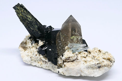 Schorl Tourmaline, Quartz- Smoky, Beryl var. Aquamarine on Feldspar Matrix