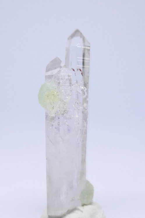 Lustrous Quartz Twin Crystal with Prehnite